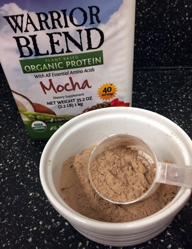 Add one scoop protein powder to bowl.